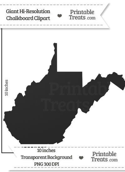 Clean Chalkboard Giant West Virginia State Clipart from PrintableTreats.com