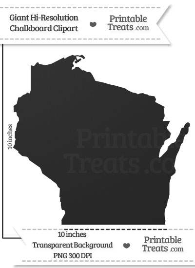 Clean Chalkboard Giant Wisconsin State Clipart from PrintableTreats.com