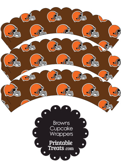 Cleveland Browns Football Helmet Scalloped Cupcake Wrappers from PrintableTreats.com