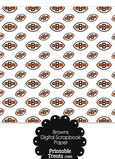 Cleveland Browns Logo Digital Paper with White Background from PrintableTreats.com