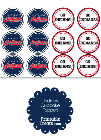 Cleveland Indians Cupcake Toppers from PrintableTreats.com