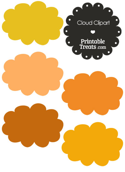 Cloud Clipart in Shades of Orange from PrintableTreats.com