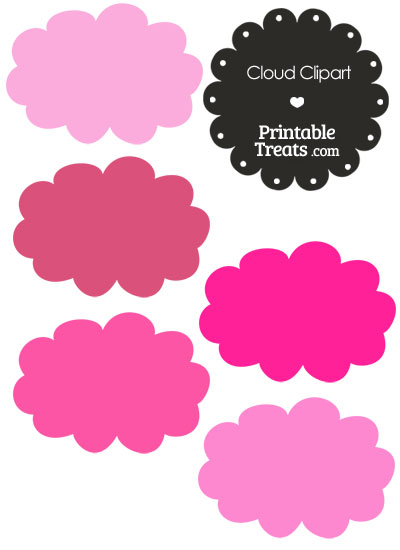 Cloud Clipart in Shades of Pink from PrintableTreats.com
