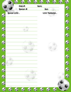 free soccer stationery for sponsored child