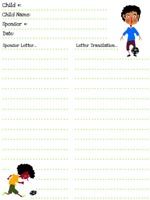 compassion soccer player stationery