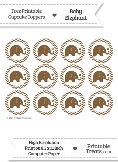 Coyote Brown Baby Elephant Chevron Cupcake Toppers from PrintableTreats.com