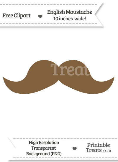 Coyote Brown English Mustache Clipart from PrintableTreats.com