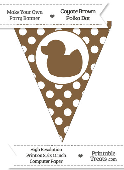 Coyote Brown Polka Dot Pennant Flag with Duck Facing Left from PrintableTreats.com