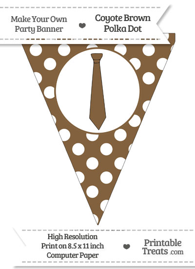 Coyote Brown Polka Dot Pennant Flag with Tie from PrintableTreats.com