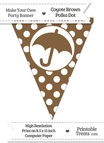 Coyote Brown Polka Dot Pennant Flag with Umbrella from PrintableTreats.com