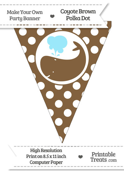 Coyote Brown Polka Dot Pennant Flag with Whale Facing Left from PrintableTreats.com