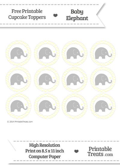 Cream Chevron Baby Elephant Cupcake Toppers from PrintableTreats.com