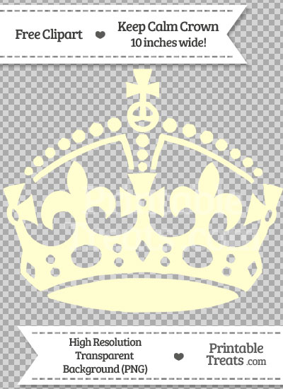 Cream Keep Calm Crown Clipart from PrintableTreats.com