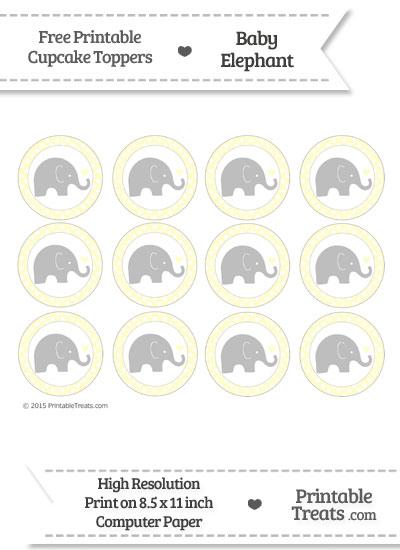 Cream Polka Dot Baby Elephant Cupcake Toppers from PrintableTreats.com