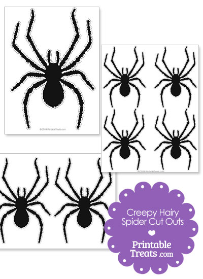 Creepy Hairy Spider Cut Outs from PrintableTreats.com