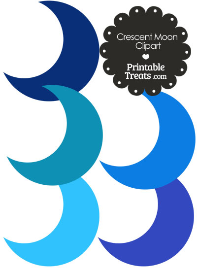 Crescent Moon Clipart in Shades of Blue from PrintableTreats.com