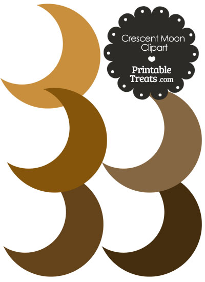 Crescent Moon Clipart in Shades of Brown from PrintableTreats.com