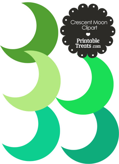 Crescent Moon Clipart in Shades of Green from PrintableTreats.com