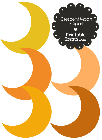 Crescent Moon Clipart in Shades of Orange from PrintableTreats.com