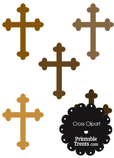 Cross Clipart in Shades of Brown from PrintableTreats.com