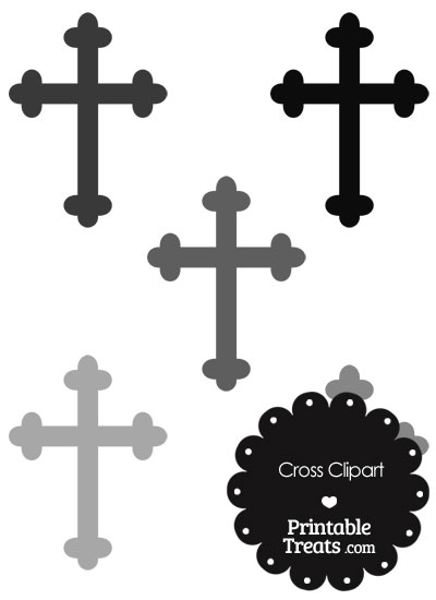 Cross Clipart in Shades of Grey from PrintableTreats.com