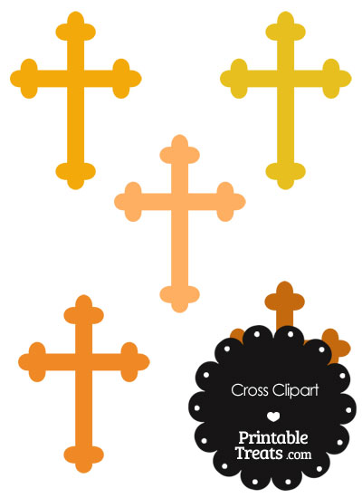 Cross Clipart in Shades of Orange from PrintableTreats.com
