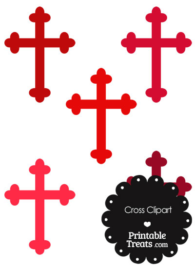 Cross Clipart in Shades of Red from PrintableTreats.com