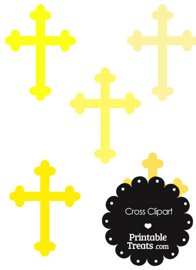 Cross Clipart in Shades of Yellow from PrintableTreats.com