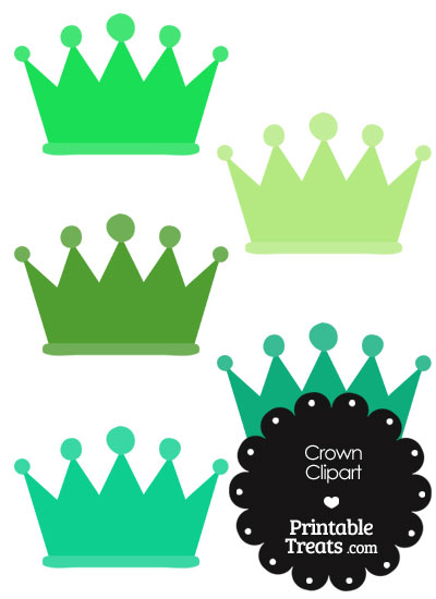 Crown Clipart in Shades of Green from PrintableTreats.com