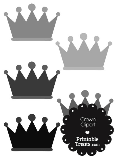 Crown Clipart in Shades of Grey from PrintableTreats.com
