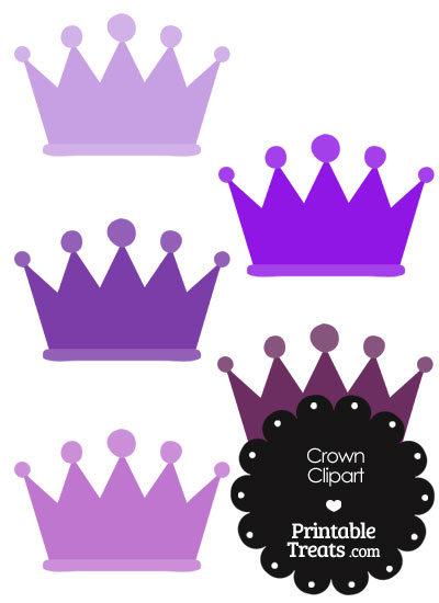 Crown Clipart in Shades of Purple from PrintableTreats.com