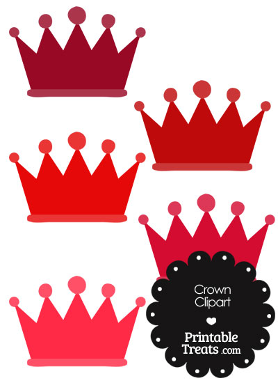 Crown Clipart in Shades of Red from PrintableTreats.com