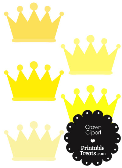 Crown Clipart in Shades of Yellow from PrintableTreats.com