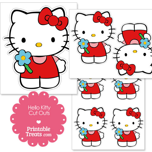 cut outs of Hello Kitty holding a flower