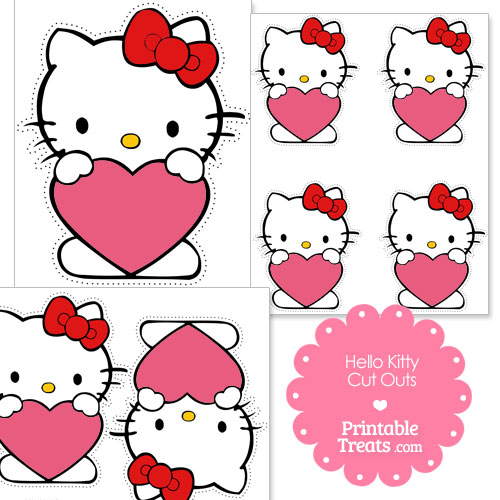 cut outs of Hello Kitty holding a pink heart