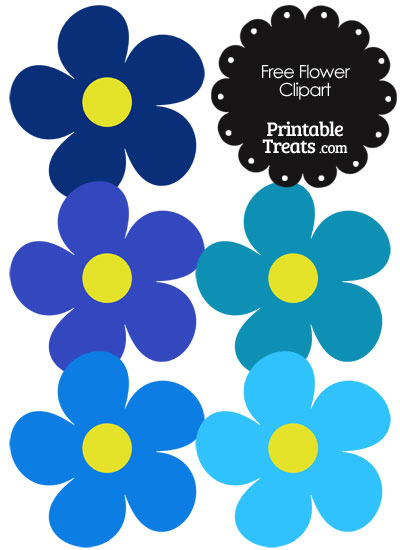 Cute Flower Clipart in Shades of Blue from PrintableTreats.com
