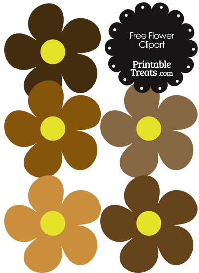 Cute Flower Clipart in Shades of Brown from PrintableTreats.com