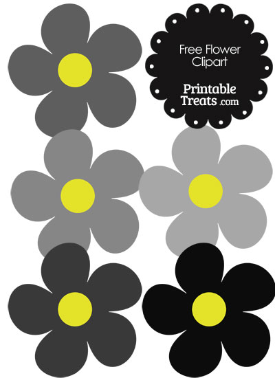 Cute Flower Clipart in Shades of Grey from PrintableTreats.com