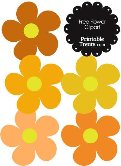 Cute Flower Clipart in Shades of Orange from PrintableTreats.com