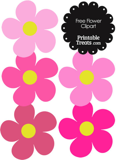 Cute Flower Clipart in Shades of Pink from PrintableTreats.com