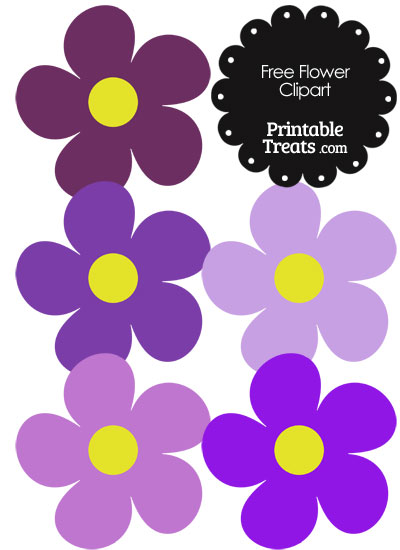 Cute Flower Clipart in Shades of Purple from PrintableTreats.com
