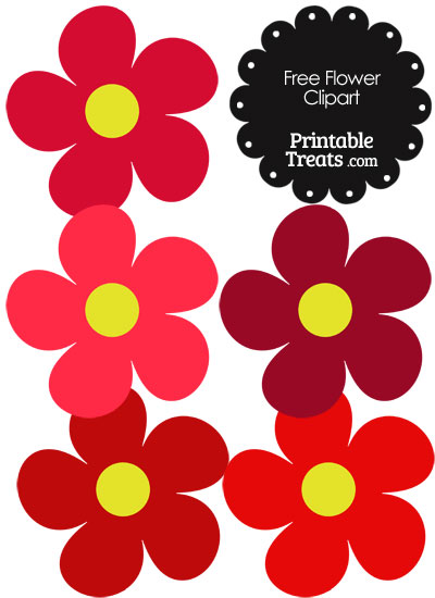 Cute Flower Clipart in Shades of Red from PrintableTreats.com