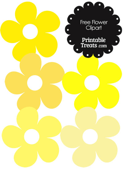 Cute Flower Clipart in Shades of Yellow from PrintableTreats.com