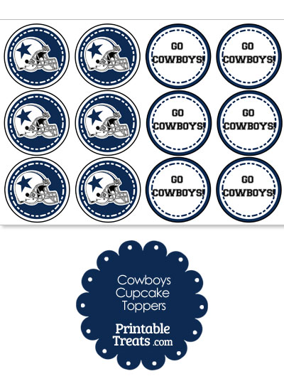 Dallas Cowboys Cupcake Toppers from PrintableTreats.com