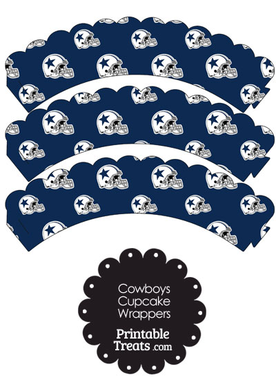 Dallas Cowboys Football Helmet Scalloped Cupcake Wrappers from PrintableTreats.com