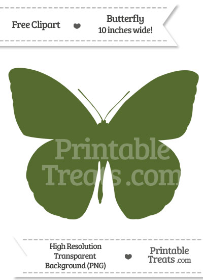 Dark Olive Green Butterfly Clipart from PrintableTreats.com
