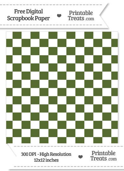 Dark Olive Green Checkered Pattern Digital Paper from PrintableTreats.com