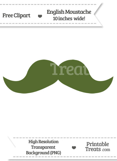 Dark Olive Green English Mustache Clipart from PrintableTreats.com