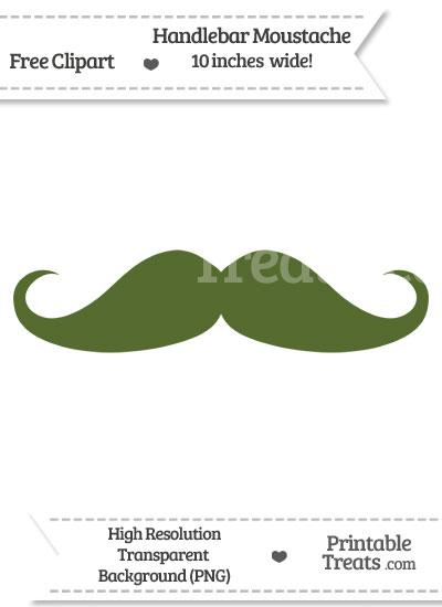 Dark Olive Green Handlebar Moustache Clipart from PrintableTreats.com