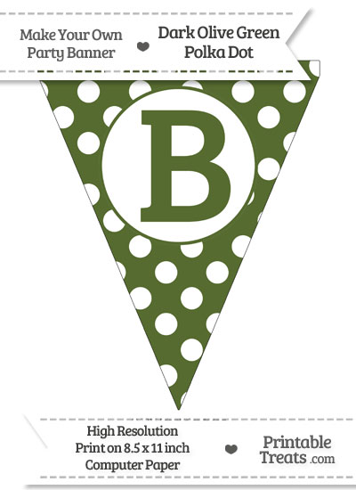 Dark Olive Green Polka Dot Pennant Flag Capital Letter B from PrintableTreats.com